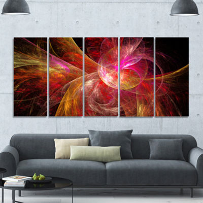 Designart Pink On Black Fractal Illustration Abstract Canvas Art Print - 5 Panels