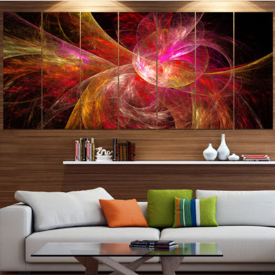 Designart Pink On Black Fractal Illustration Abstract Canvas Art Print - 7 Panels