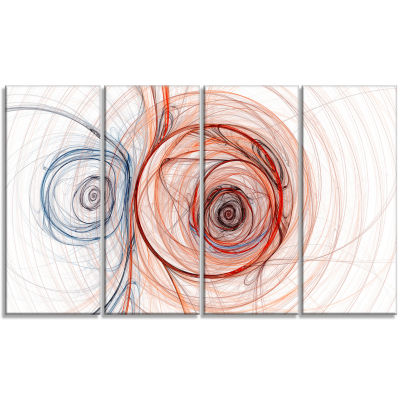 Brown Blue Fractal Illustration Abstract Canvas Art Print - 4 Panels
