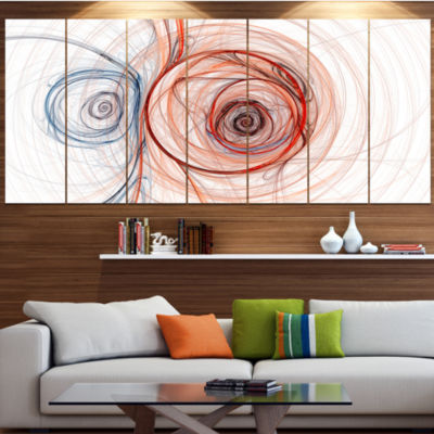 Designart Brown Blue Fractal Illustration AbstractCanvas Art Print - 4 Panels