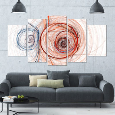 Designart Brown Blue Fractal Illustration Contemporary Canvas Art Print - 5 Panels