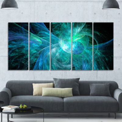 Blue On Black Fractal Illustration Abstract CanvasArt Print - 5 Panels
