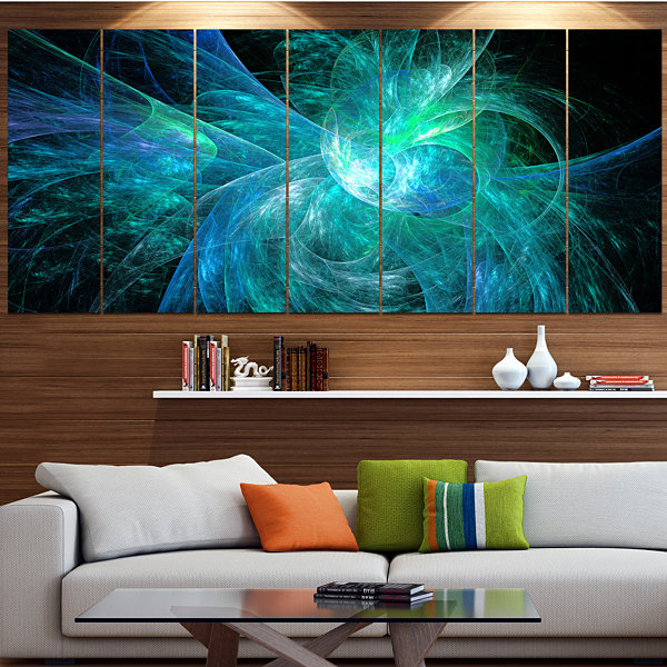 Design Art Blue On Black Fractal Illustration Abstract Canvas Art Print - 5 Panels