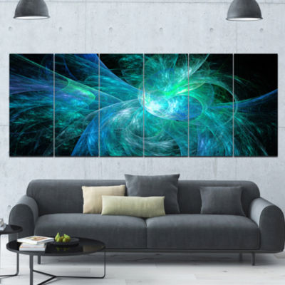 Blue On Black Fractal Illustration Abstract CanvasArt Print - 6 Panels