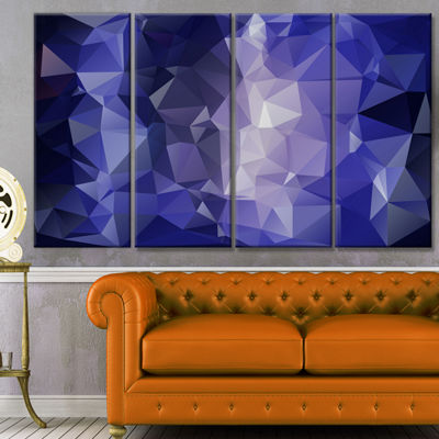 Designart Blue Polygonal Mosaic Pattern AbstractCanvas Art Print - 4 Panels