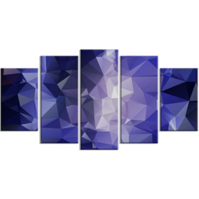 Blue Polygonal Mosaic Pattern Contemporary CanvasArt Print - 5 Panels