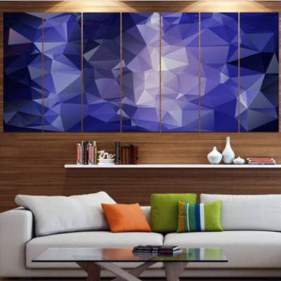 Designart Blue Polygonal Mosaic Pattern AbstractCanvas Art Print - 5 Panels