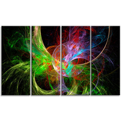 Designart Multi Color Fractal Abstract Design Abstract Canvas Art Print - 4 Panels