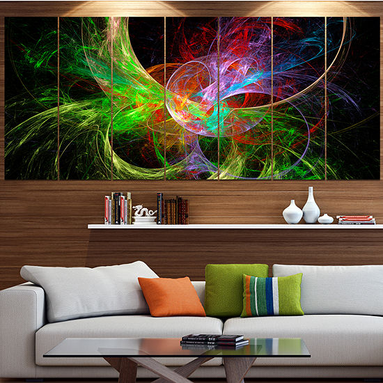Designart Multi Color Fractal Abstract Design Contemporary Canvas Art Print - 5 Panels