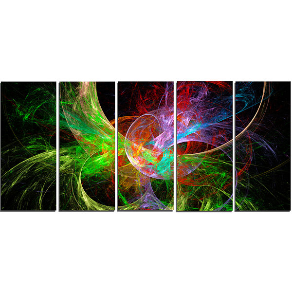 Design Art Multi Color Fractal Abstract Design Abstract Canvas Art Print - 5 Panels