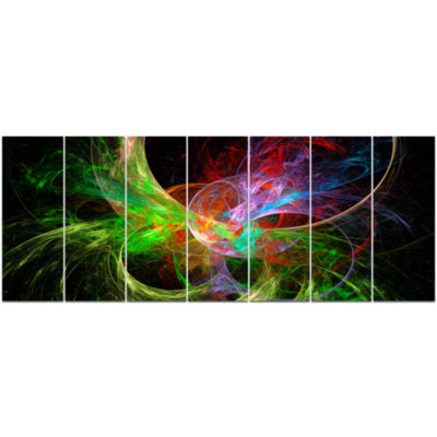 Multi Color Fractal Abstract Design Abstract Canvas Art Print - 7 Panels