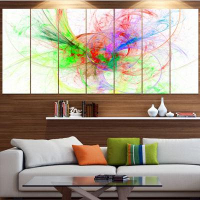 Designart Multi Color On White Fractal Design Abstract Canvas Art Print - 4 Panels