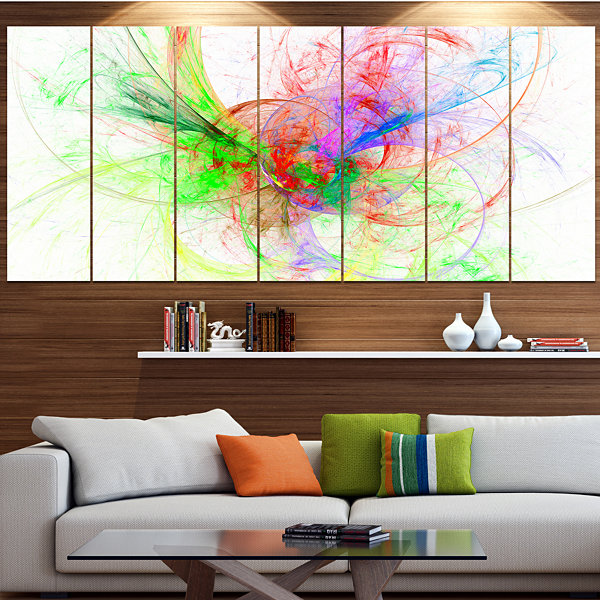 Design Art Multi Color On White Fractal Design Abstract Canvas Art Print - 7 Panels