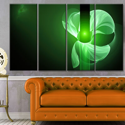Designart Green Flower Fractal Illustration Abstract Canvas Art Print - 4 Panels