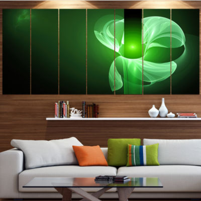 Design Art Green Flower Fractal Illustration Contemporary Canvas Art Print - 5 Panels