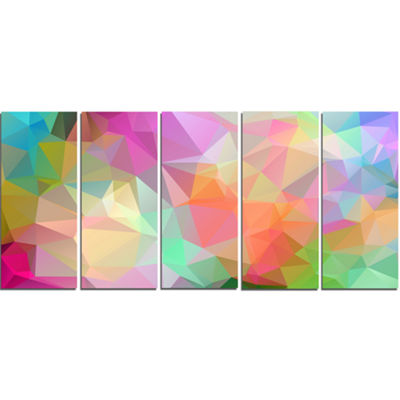 Designart Multi Color Polygonal Mosaic Pattern Abstract Canvas Art Print - 5 Panels