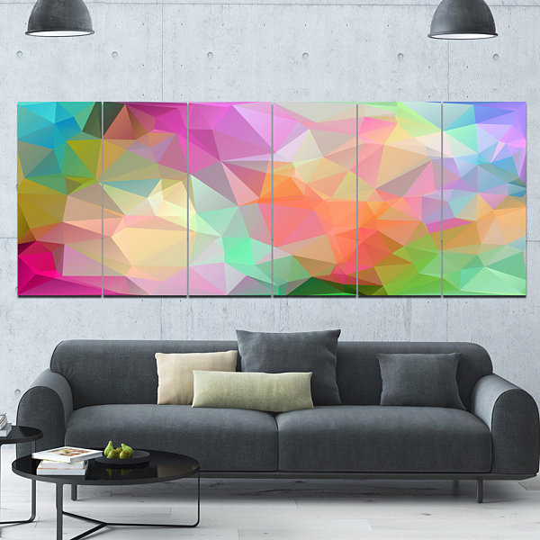 Designart Multi Color Polygonal Mosaic Pattern Abstract Canvas Art Print - 6 Panels