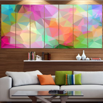 Designart Multi Color Polygonal Mosaic Pattern Abstract Canvas Art Print - 7 Panels