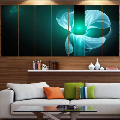 Designart Blue Flower Fractal Illustration Abstract Canvas Art Print - 4 Panels