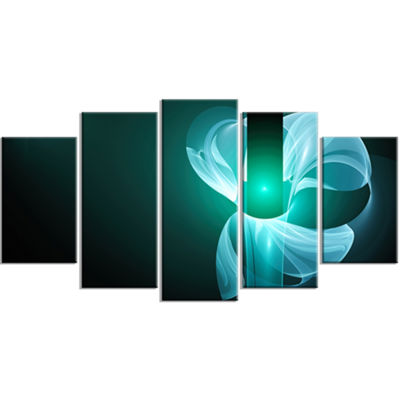 Designart Blue Flower Fractal Illustration Contemporary Canvas Art Print - 5 Panels
