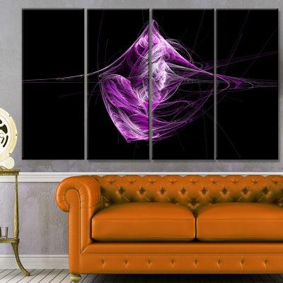Designart Purple On Black Fractal Illustration Abstract Canvas Art Print - 4 Panels