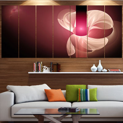 Designart Pink Flower Fractal Illustration Abstract Canvas Art Print - 6 Panels