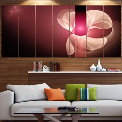 Designart Pink Flower Fractal Illustration Abstract Canvas Art Print - 7 Panels