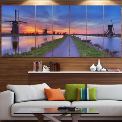 Designart Windmills Morning Panorama ContemporaryCanvas Art Print - 5 Panels