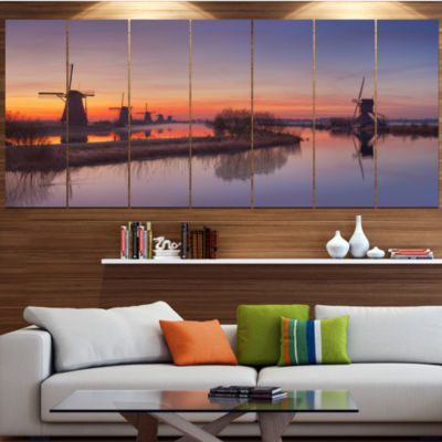 Designart Dutch Windmills Panorama Abstract CanvasArt Print- 4 Panels