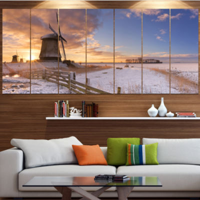 Designart Dutch Windmills At Sunrise Abstract Canvas Art Print - 7 Panels