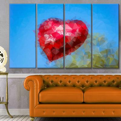 Designart Polygonal Heart Against Blue Sky Abstract Canvas Art Print - 4 Panels