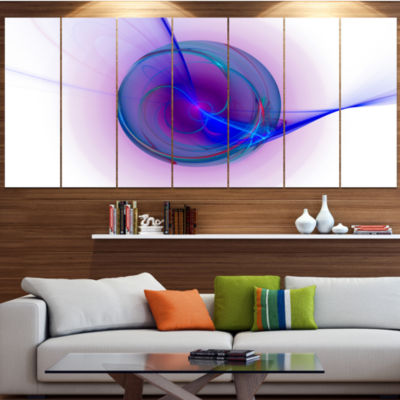Designart Abstract Blue Fractal Design Abstract Canvas Art Print - 4 Panels