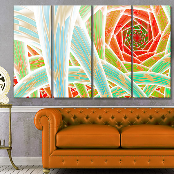 Designart Red Fractal Endless Tunnel Abstract Canvas Art Print - 4 Panels