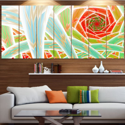 Designart Red Fractal Endless Tunnel Abstract Canvas Art Print - 7 Panels