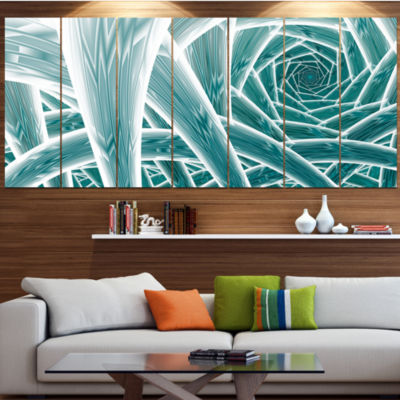Blue Fractal Endless Tunnel Abstract Canvas Art Print - 4 Panels