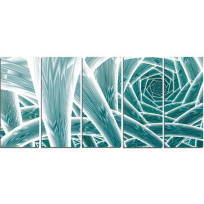 Blue Fractal Endless Tunnel Abstract Canvas Art Print - 5 Panels
