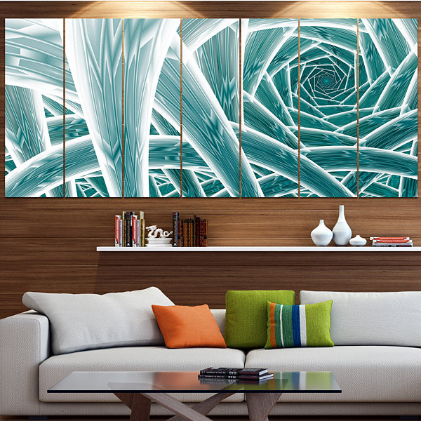 Designart Blue Fractal Endless Tunnel Abstract Canvas Art Print - 7 Panels