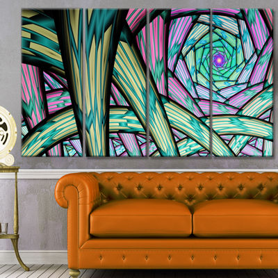 Designart Purple Fractal Endless Tunnel AbstractCanvas Artwork - 4 Panels