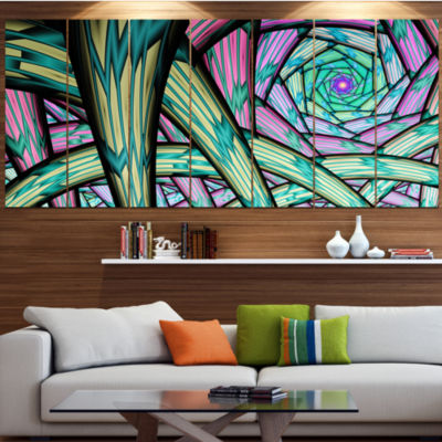 Designart Purple Fractal Endless Tunnel AbstractCanvas Artwork - 5 Panels