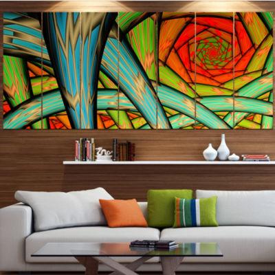 Design Art Green Fractal Endless Tunnel Contemporary Canvas Art Print - 5 Panels