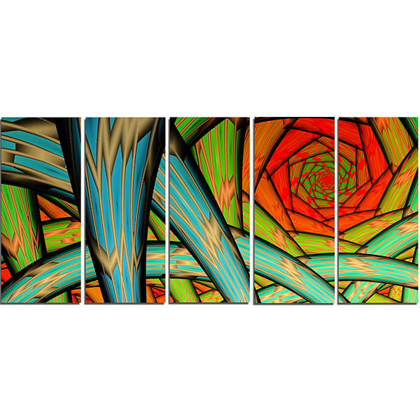 Designart Green Fractal Endless Tunnel Abstract Canvas Art Print - 5 Panels