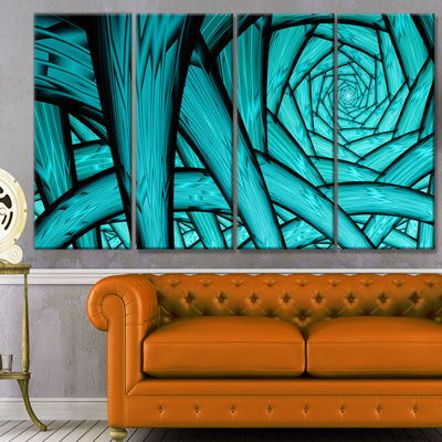 Designart Turquoise Fractal Endless Tunnel Abstract Canvas Art Print - 4 Panels