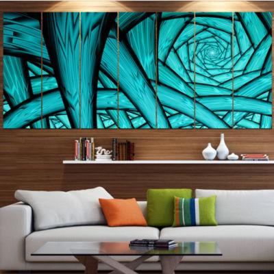 Design Art Turquoise Fractal Endless Tunnel Contemporary Canvas Art Print - 5 Panels