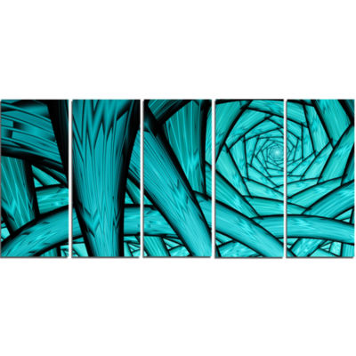Turquoise Fractal Endless Tunnel Abstract Canvas Art Print - 5 Panels