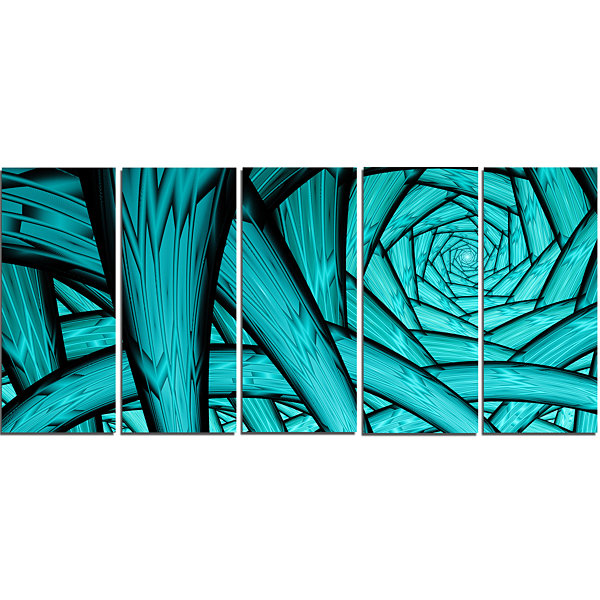 Design Art Turquoise Fractal Endless Tunnel Abstract Canvas Art Print - 5 Panels
