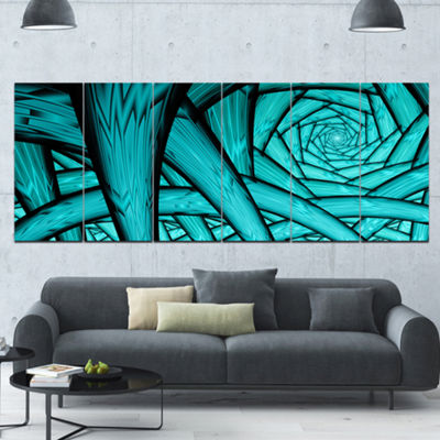Designart Turquoise Fractal Endless Tunnel Abstract Canvas Art Print - 6 Panels