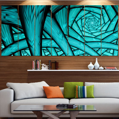 Designart Turquoise Fractal Endless Tunnel Abstract Canvas Art Print - 7 Panels