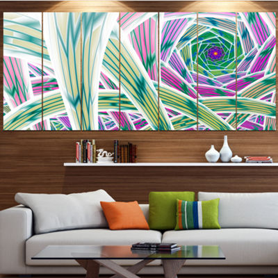 Designart Purple Fractal Endless Tunnel AbstractCanvas Art Print - 4 Panels