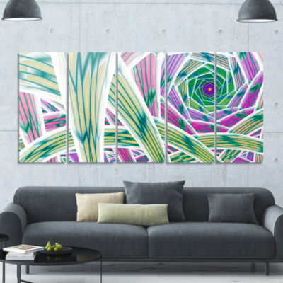 Purple Fractal Endless Tunnel Abstract Canvas ArtPrint - 5 Panels