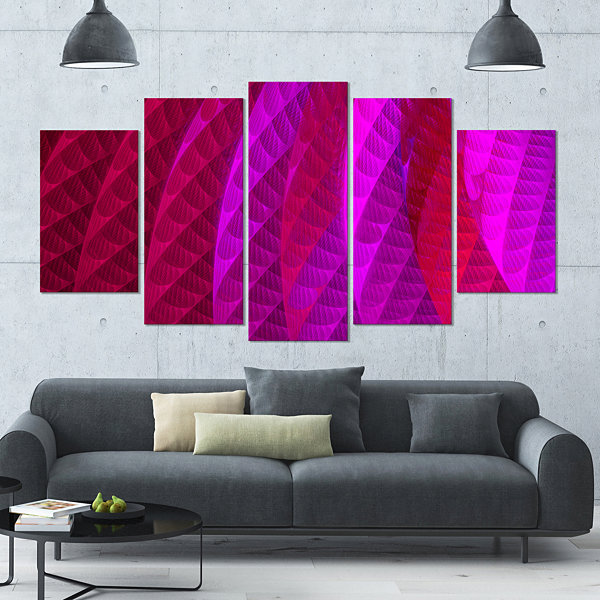 Designart Layered Pink Psychedelic Design Contemporary Canvas Art Print - 5 Panels